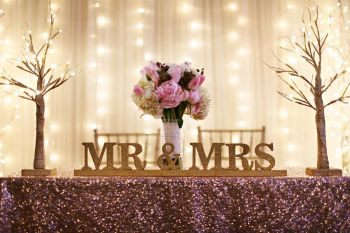 Sparkling Gold and Blush Sweetheart Table