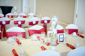 Ivory And Rich Dark Red Linens