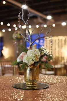 Manzanita Branch, Pink Roses, Hydrangea & Crystals in Gold Glass