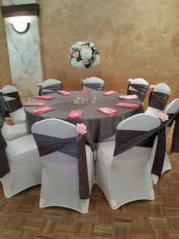 Pink, Ivory And Pewter Tablescape