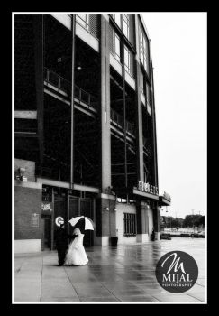 Black and White Image of a Rainy Summer Day at Lambeau Field