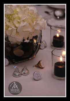 Simple Hydrangea And Candlelight Centerpiece