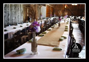 Burlap Table Runners, Country Vases with Purple & White Floral