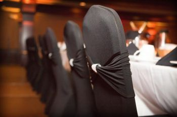 Stunning Black Chair Covers With Silver Rhinestone Pulls