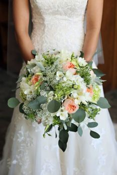 White & Pink Floral, Beautiful Greenery Bridal Bouquet